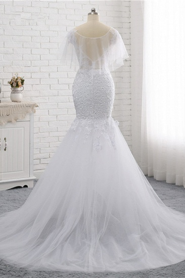 Elegant Jewel Sleeveless White Tulle Wedding Dress Mermaid Lace Beading Bridal Gowns On Sale_3