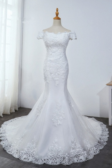 Affordable Off-the-Shoulder Mermaid White Wedding Dress Short Sleeves Tulle Appliques Bridal Gowns On Sale_1