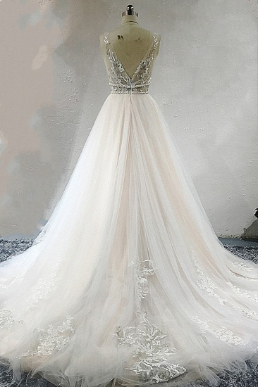 BMbridal Sexy Deep-V-Neck Sleeveless Tulle Wedding Dress Ruffles Appliques Beadings Bridal Gowns with Sash On Sale_3
