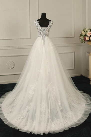 BMbridal Sexy V-Neck Sleeveless Tulle Wedding Dress See Through Top Appliques Bridal Gowns On Sale_3