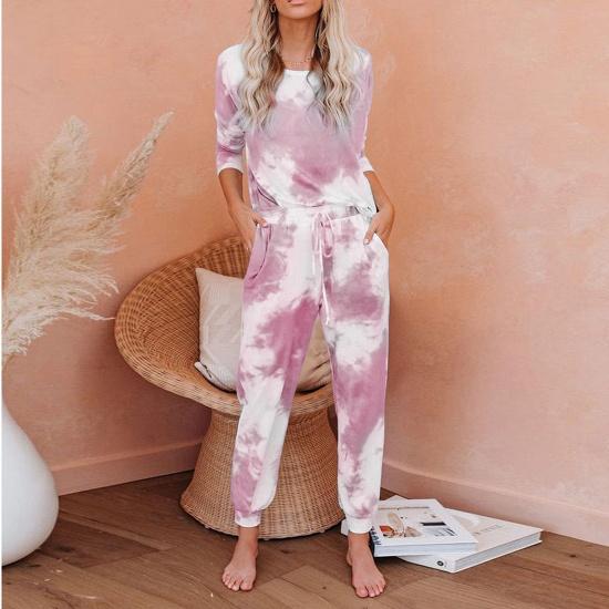 BMbridal Fashion Long Sleeve Homewear Two Pieces Tie-dye Round Neck Pajamas_3