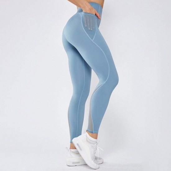 Patchwork Women Yoga Pants With Pocket High Waist Sports Gym Wear Leggings Fitness Girls Running Exercise Outfits_3