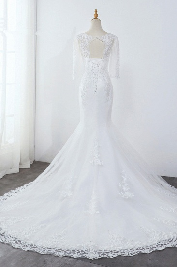 BMbridal Elegant Jewel 3/4 Sleeves Mermaid White Wedding Dress Tulle Lace Appliques Beadings Bridal Gowns On Sale_3