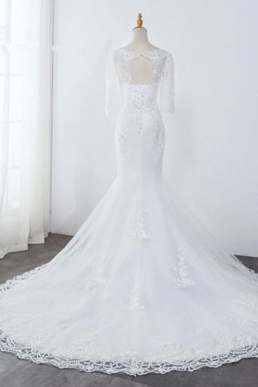 Elegant Jewel 3/4 Sleeves Mermaid White Wedding Dress Tulle Lace Appliques Beadings Bridal Gowns On Sale_3