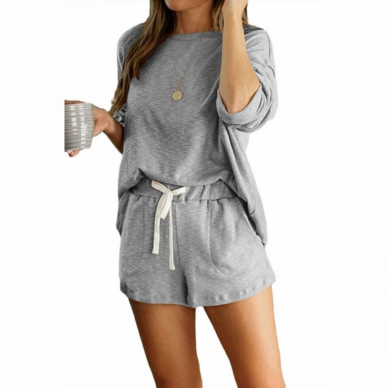 Ladies' Homewear Two-Piece Set Summer Simple & Breathable Round Neck Pajamas_9