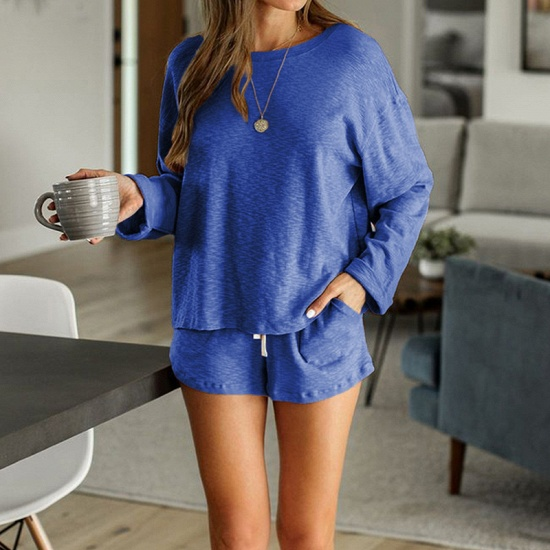 Ladies' Homewear Two-Piece Set Summer Simple & Breathable Round Neck Pajamas_3