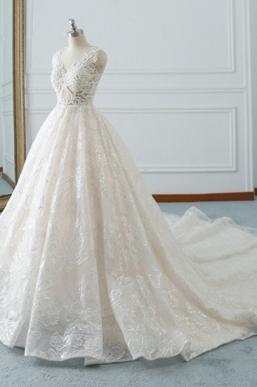 Elegant Jewel White Tulle Lace Wedding Dress Sleeveless Appliques A-Line Bridal Gowns Online_4