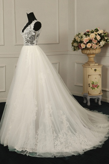 BMbridal Sexy V-Neck Sleeveless Tulle Wedding Dress See Through Top Appliques Bridal Gowns On Sale_4