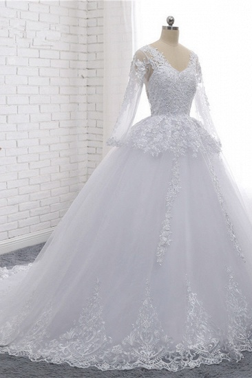 BMbridal Stylish Long Sleeves Tulle Lace Wedding Dress Ball Gown V-Neck Sequins Appliques Bridal Gowns On Sale_4