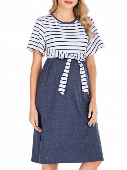 Fashion Women's Striped Round-Neck Maternity Dress with Short-sleeves_5