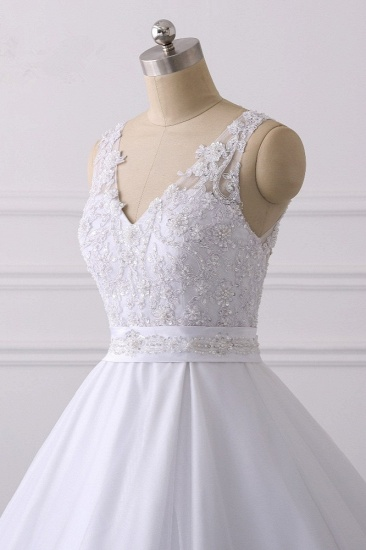 Gorgeous V-Neck Satin Tulle Lace Wedding Dress White Appliques Sleeveless Bridal Gowns On Sale_6