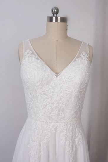 BMbridal Elegant Straps V-neck Chiffon White Wedding Dress Sleeveless Lace Appliques Ruffle Bridal Gowns On Sale_4