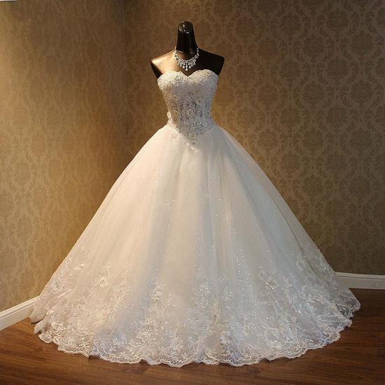 BMbridal Elegant Strapless Tulle Ball Gown Wedding Dress Appliques Sequined Sweetheart Bridal Gowns On Sale_4