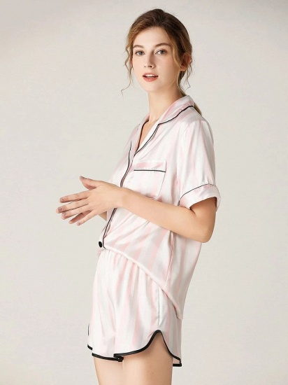 Fashion Sexy Women Summer Lapel Silk Home Pajamas with Short Sleeves_4