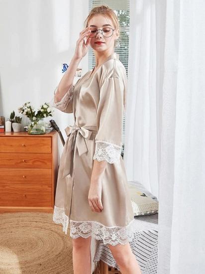 BMbridal Lovely Lady V-Neck Imitation Silk Lace Pajamas with Sleeves_3