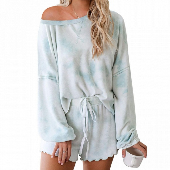 BMbridal Long sleeve One shoulder Tie-dye Loungewear Pink Two-pieces Pajamas_4