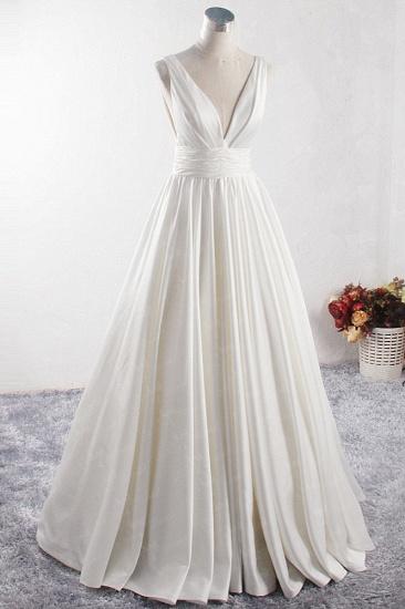 BMbridal Affordable V-neck Satin White Wedding Dress Sleeveless Ruffles Bridal Gowns On Sale_4