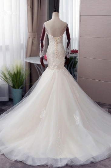 BMbridal Chic Jewel Tulle Mermaid Lace Wedding Dress Pearls Appliques Long Sleeves Bridal Gowns Online_3