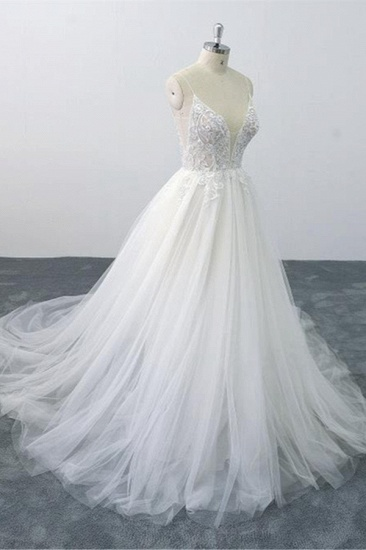 Sexy Spaghetti Straps Tulle Lace Wedding Dress V-Neck Ruffles Appliques Bridal Gowns Online_4