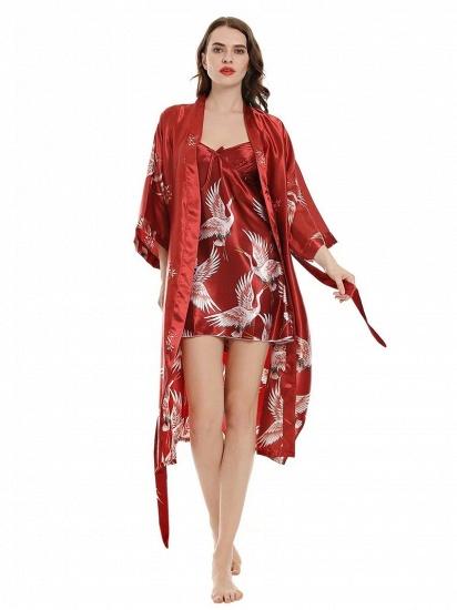 BMbridal Burgundy Women Lace Chemise Mini Lingerie V Neck Nightwear Satin Sleepwear_4