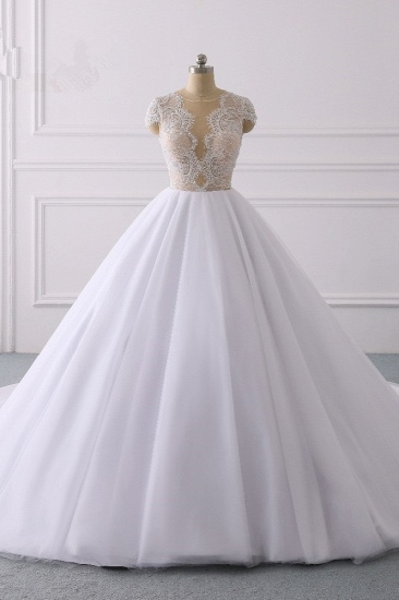 BMbridal Modern Ball Gown Jewel Tulle Ruffles Lace Wedding Dress Appliques Short-Sleeves Bridal Gowns On Sale_1