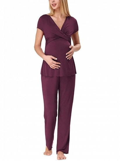 Soft Short Sleeve Solid Color Maternity Breastfeeding Suit