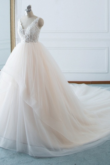 Simple V-Neck White Tulle Wedding Dress Sleeveless Lace Top Bridal Gowns with Beadings On Sale_4