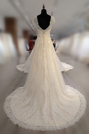BMbridal Gorgeous V-Neck Cap Sleeves Tulle Wedding Dress Lace Appliques Ruffle Bridal Gowns Online_3