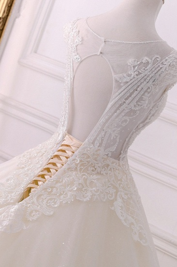 BMbridal Gorgeous Jewel Lace Appliques Wedding Dress Sleeveless Beadings Bridal Gowns with Sequins Online_5