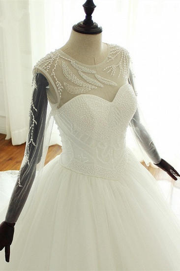 BMbridal Stylish Jewel Long Sleeves Tulle Wedding Dress Pearls Lace Appliques Bridal Gown with Crystals On Sale_5