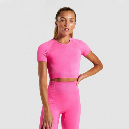 Sexy Women 2PCS Yoga Set Female Short Sleeves Top Fitness Shorts Running Gym Sports Clothes Suit_24