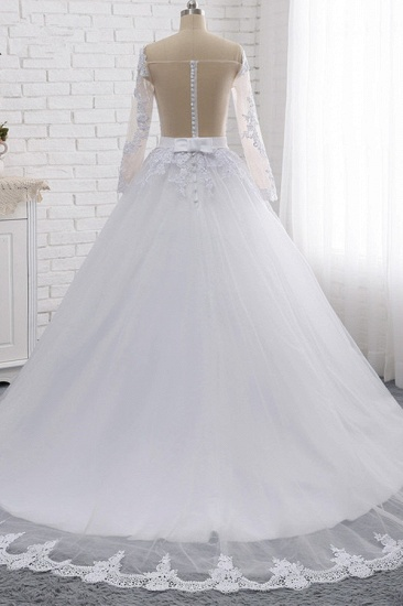 Stylish Off-the-Shoulder Long Sleeves Wedding Dress Tulle Lace Appliques Bridal Gowns with Beadings On Sale_3