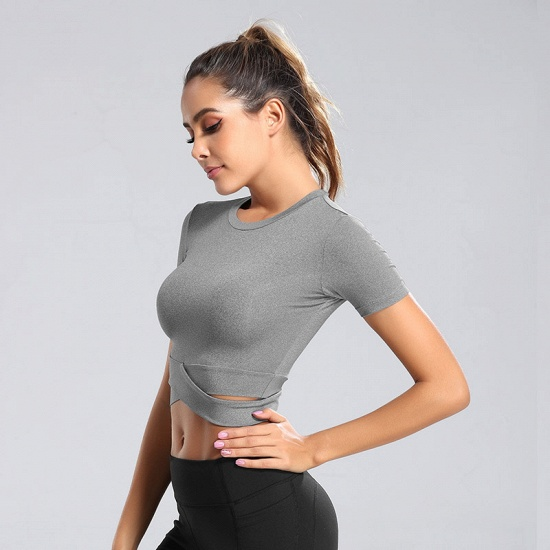 BMbridal New Sport Crop Top Women Fashion Seamless Yoga Shirts High Elastic Breathable Short Sleeve Female Sportswear_3