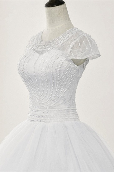 Chic Ball Gown Jewel White Tulle Lace Wedding Dress Short Sleeves Rhinestones Bridal Gowns Online_7