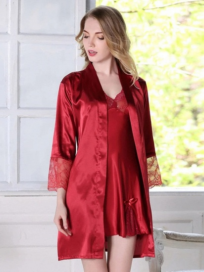 BMbridal Sexy Women Red Simulation Silk Lace Skirt Pajamas with Spaghetti Straps_2