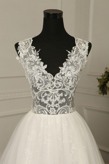BMbridal Sexy V-Neck Sleeveless Tulle Wedding Dress See Through Top Appliques Bridal Gowns On Sale_5