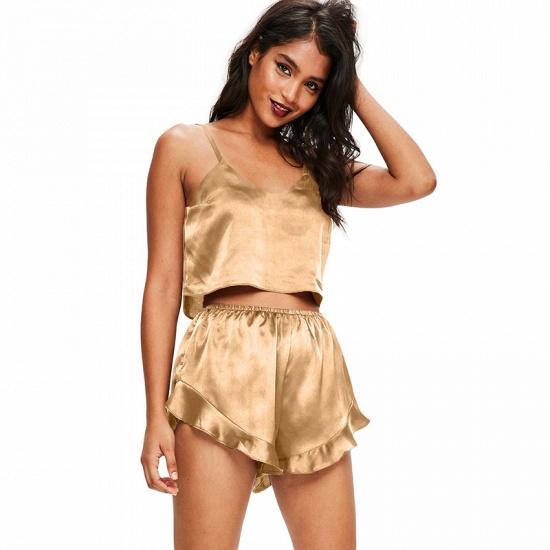 BMbridal Sexy Silk Pajamas Set Cami Shorts Spaghetti Straps Sleeveless Sleepwear Loungewear Two Piece Pajamas Sets_3