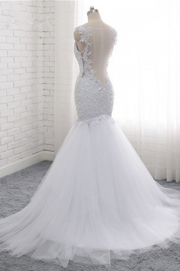 BMbridal Mordern Straps V-Neck Tulle Lace Wedding Dress Sleeveless Appliques Beadings Bridal Gowns Online_5