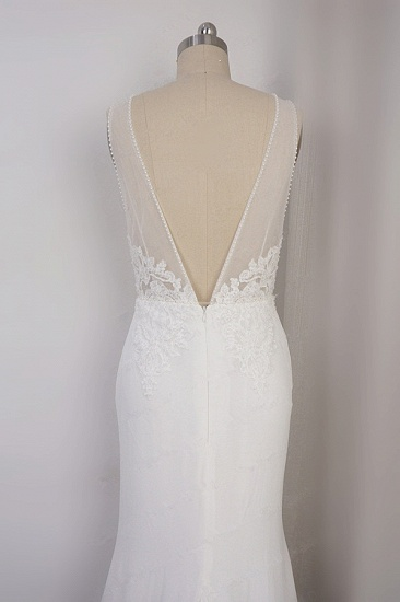 BMbridal Sexy Deep-V-Neck Chiffon Sheath Wedding Dress Lace Appliques Sleeveless Pearls Bridal Gowns Online_5