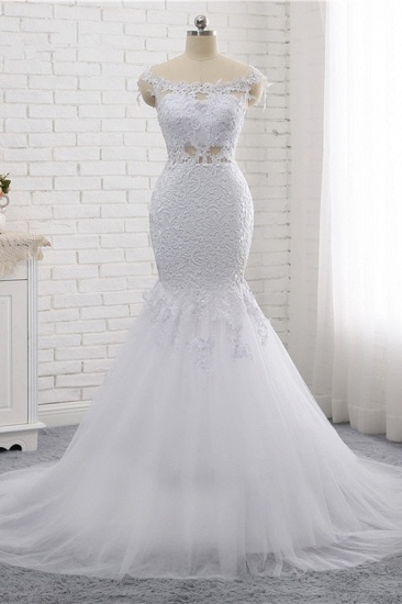 Elegant Jewel Sleeveless White Tulle Wedding Dress Mermaid Lace Beading Bridal Gowns On Sale_6
