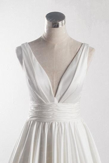 BMbridal Affordable V-neck Satin White Wedding Dress Sleeveless Ruffles Bridal Gowns On Sale_5