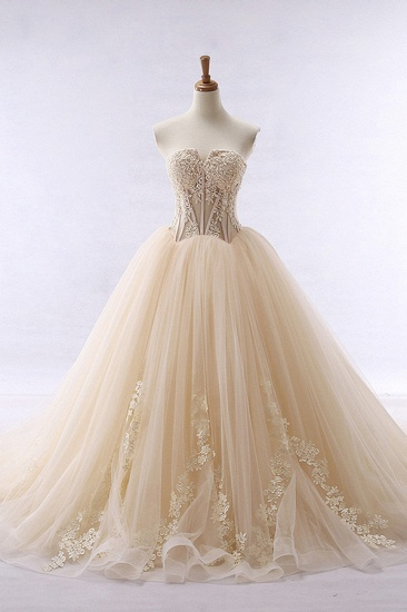 Simple Strapless Champagne Tulle Wedding Dress Sweetheart Sleeveless Appliques Bridal Gowns with Beadings On Sale