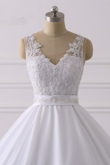 Gorgeous V-Neck Satin Tulle Lace Wedding Dress White Appliques Sleeveless Bridal Gowns On Sale_5