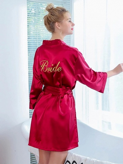 Sexy Burgundy Lace Imitation Silk Belt Bathrobe for Brides_2