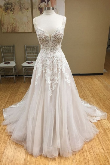 Chic Spaghetti-Straps V-Neck Tulle Wedding Dress Appliques Sleeveless Bridal Gowns with Beadings Online_1