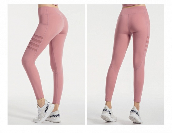 BMbridal Pocket High Waist Yoga Pants Sexy Lady Raising Hips Tight Running Fitness Double Side Brocade Pants High Elasticity_6