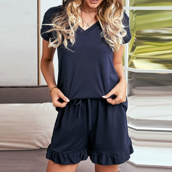 BMbridal Summer Homewear Two-Piece V Neck Comfortable Leisure Short Sleeved Pajamas_3