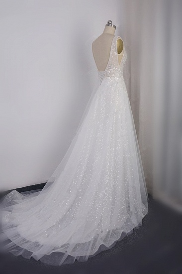Sparkly Sequined V-Neck Wedding Dress Tulle Sleeveless Beadings Bridal Gowns On Sale_4