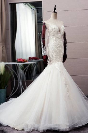 BMbridal Chic Jewel Tulle Mermaid Lace Wedding Dress Pearls Appliques Long Sleeves Bridal Gowns Online_5