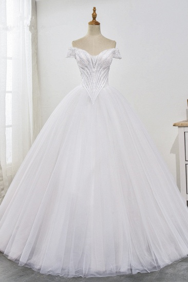 Stunning Off-the-Shoulder Ball Gown White Tulle Wedding Dress Sweetheart Sleeveless Beadings Bridal Gowns Online_1